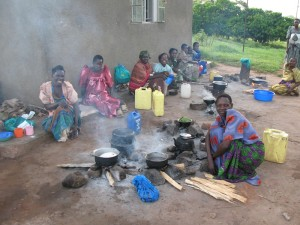 Relatives cooking at Kamuli